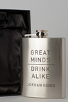 Personalised Great Minds Silver Gift Boxed Hip Flask