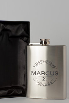 Personalised Happy Birthday Silver Gift Boxed Hip Flask - 292021