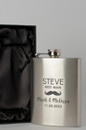 Personalised Moustache Wedding Party Silver Gift Boxed Hip Flask