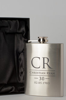 Personalised Initials and Name Silver Gift Boxed Hip Flask - 292023