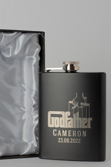 Personalised Godfather Gift Boxed Black Metal Hip Flask - 292025