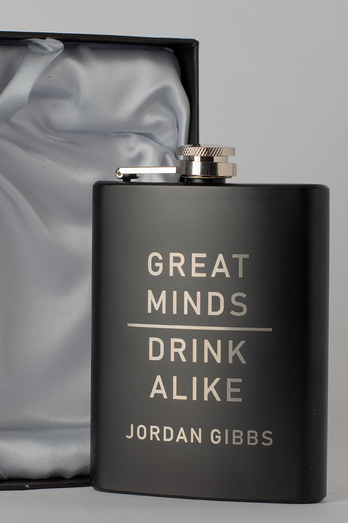 Personalised Great Minds Gift Boxed Black Metal Hip Flask