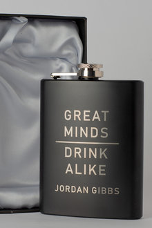 Personalised Great Minds Gift Boxed Black Metal Hip Flask - 292026