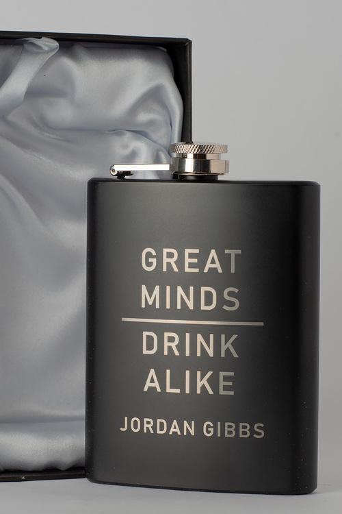 Personalised happy Birthday Gift Boxed Black Metal Hip Flask