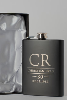Personalised Initials and Name Gift Boxed Black Metal Hip Flask - 292029