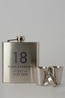 Personalised Birthday Est Silver Hip Flask & Shot Glass Set