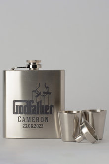 Personalised Godfather Silver Hip Flask & Shot Glass Set - 292031