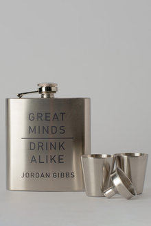 Personalised Great Minds Silver Hip Flask & Shot Glass Set - 292032