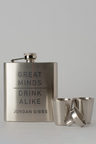 Personalised Great Minds Silver Hip Flask & Shot Glass Set