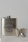 Personalised Happy Birthday Silver Hip Flask & Shot Glass Set