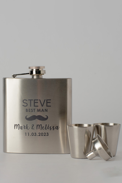 Personalised Moustache Wedding Party Silver Hip Flask & Shot