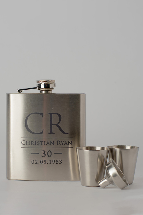 Personalised Initials and Name Silver Hip Flask & Shot Glass Set