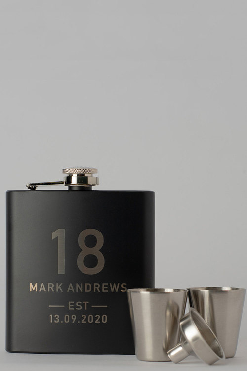 Personalised Birthday Est Black Metal Hip Flask & Shot Glass Set