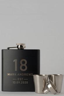 Personalised Birthday Est Black Metal Hip Flask & Shot Glass Set - 292036
