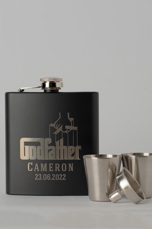 Personalised Godfather Black Metal Hip Flask & Shot Glass Set
