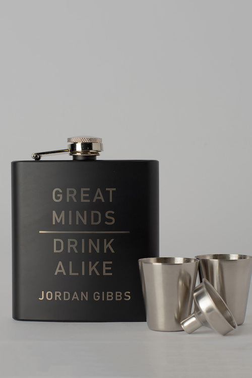 Personalised Great Minds Black Metal Hip Flask & Shot Glass Set