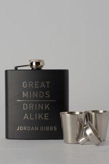 Personalised Great Minds Black Metal Hip Flask & Shot Glass Set - 292038