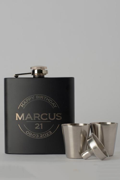 Personalised Happy Birthday Black Metal Hip Flask & Shot Glass