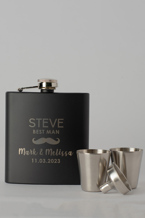 Personalised Moustache Wedding Party Black Metal Hip Flask &