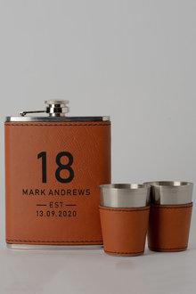 Personalised Birthday Est Tan Hip Flask & Shot Glass Set - 292042