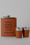 Personalised Great Minds Tan Hip Flask & Shot Glass Set