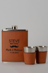 Personalised Moustache Wedding Party Tan Hip Flask & Shot Glass