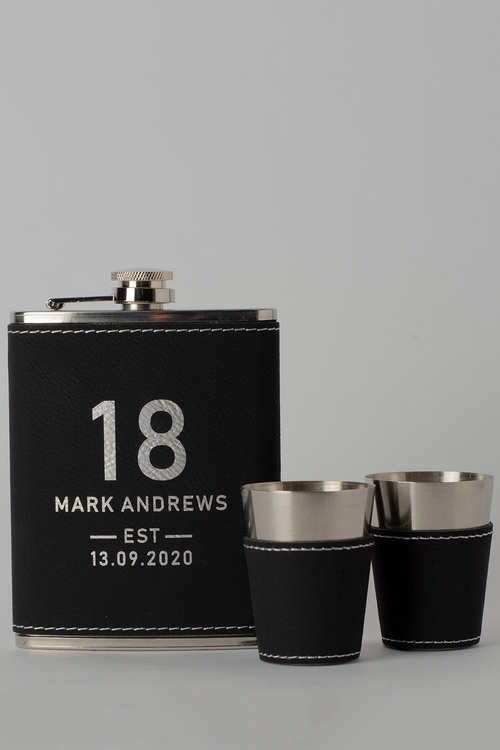 Personalised Birthday Est Black Leather Hip Flask & Shot Glass