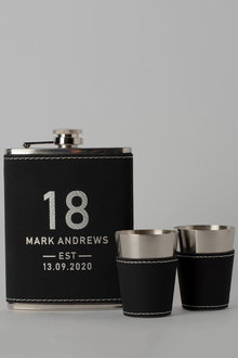 Personalised Birthday Est Black Leather Hip Flask & Shot Glass - 292047