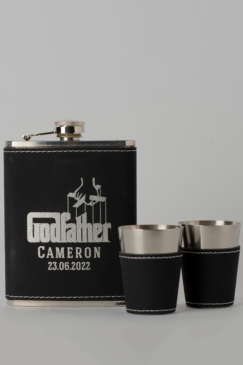 Personalised Godfather Black Leather Hip Flask & Shot Glass Set