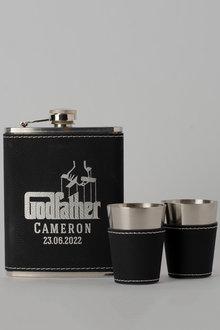 Personalised Godfather Black Leather Hip Flask & Shot Glass Set - 292048
