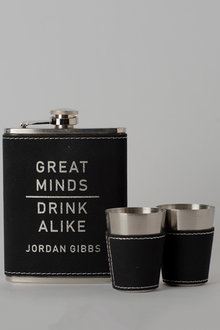 Personalised Great Minds Black Leather Hip Flask & Shot Glass - 292049
