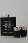 Personalised Great Minds Black Leather Hip Flask & Shot Glass