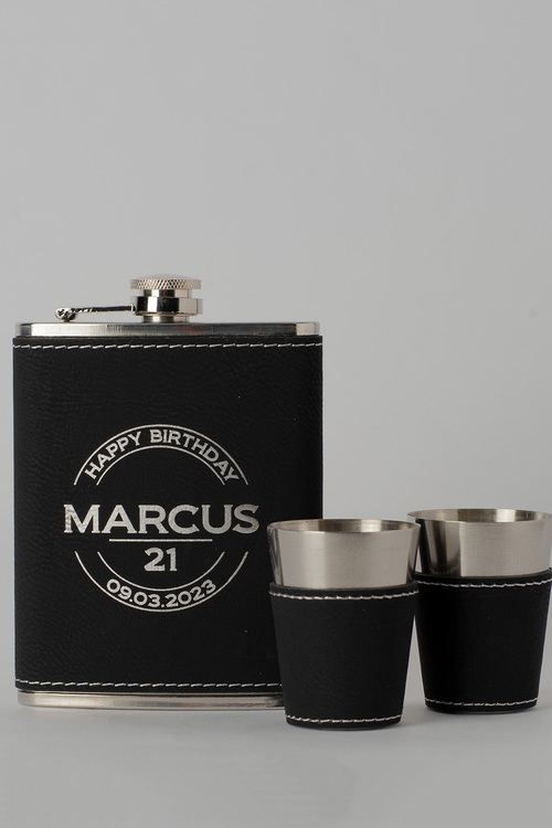 Personalised Happy Birthday Black Leather Hip Flask & Shot Glass