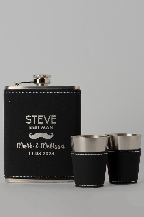 Personalised Moustache Wedding Party Black Leather Hip Flask &