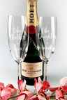 Personalised Twin Champagne Glass Gift Set