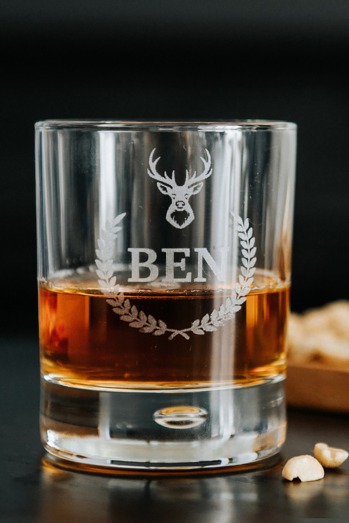 Personalised Stag Whisky Glass