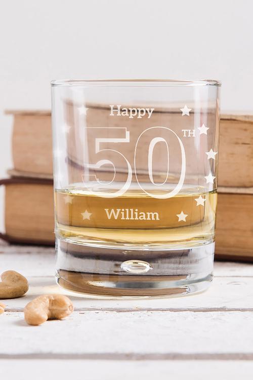 Personalised Birthday Star Whisky Glass