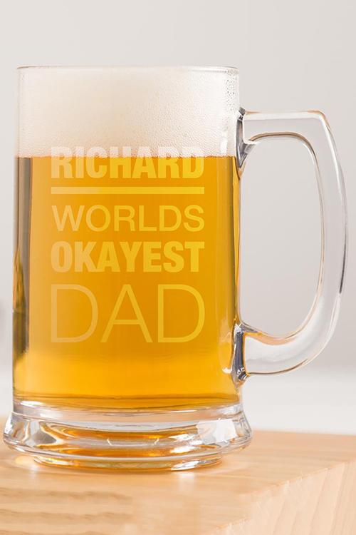 Personalised Okayest Dad Beer Tankard