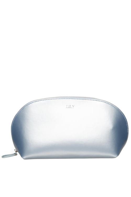 Personalised Monogrammed Leather Metallic Cosmetic Bag