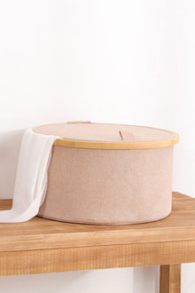 Sherwood Home Round Linen and Bamboo Laundry Hamper With Cover - 292250