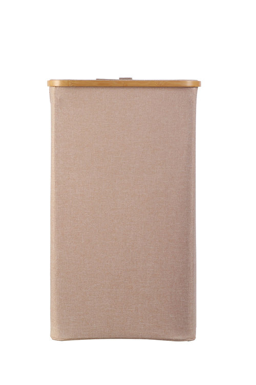 Sherwood Home Tall Rectangular Linen and Bamboo Laundry Hamper With