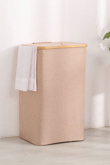 Sherwood Home Tall Rectangular Linen and Bamboo Laundry Hamper With - 292251