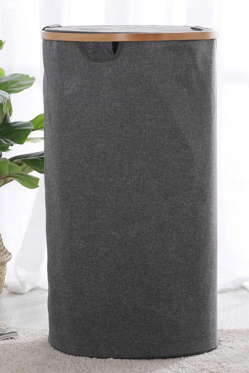 Sherwood Home Linen and Bamboo Round Long Laundry Bag With Cover