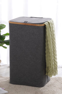 Sherwood Home Linen and Bamboo Rectangular Long Laundry Bag With Cover - 292253