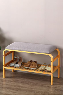 Sherwood Home Foldable Bamboo Cushioned Bench Shoe Storage 2 Tier - 292254