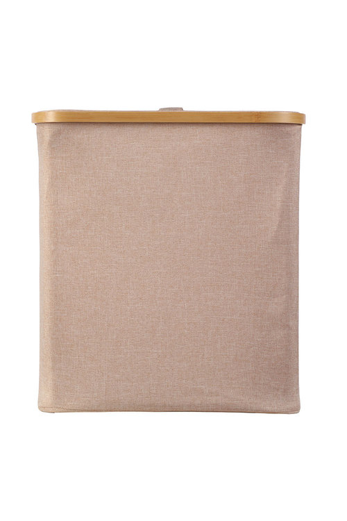 Sherwood Home Short Rectangular Linen and Bamboo Laundry Hamper With