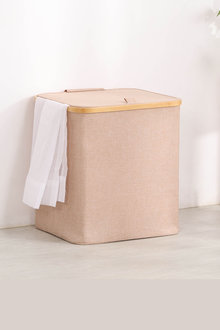 Sherwood Home Short Rectangular Linen and Bamboo Laundry Hamper With - 292262