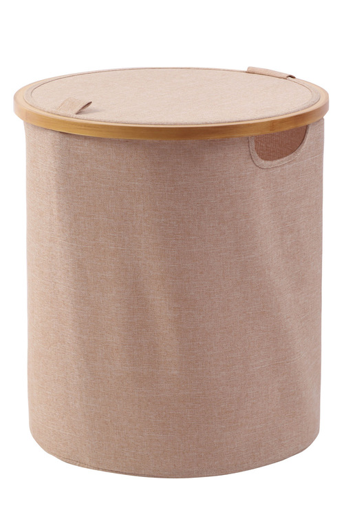 Sherwood Home Tall Round Linen and Bamboo Laundry Hamper With Cover