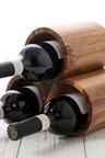 Sherwood Home Acacia Round 3 Bottle Wine Rack