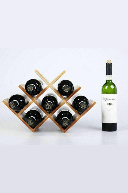 Sherwood Home Natural Acacia Wood 8 Bottle Tabletop Wine Rack